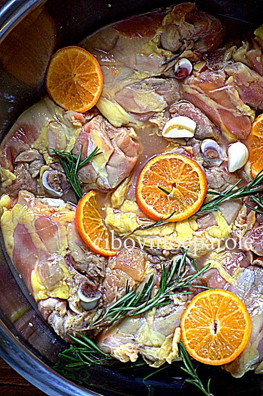 Pollo arrosto con clementine marinata