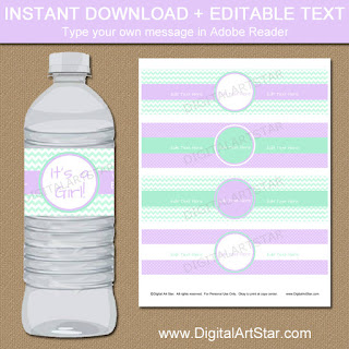 printable baby shower water labels in lavender and mint; perfect for welcoming the new baby girl