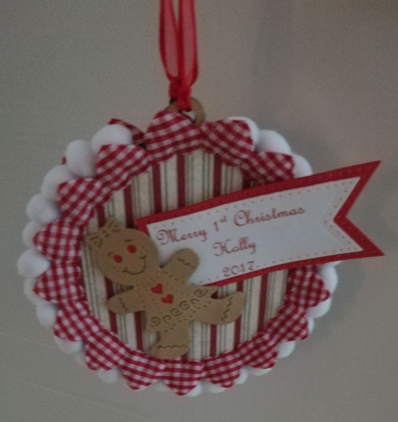 Cards made by beckie baby 1st christmas personalised tree for Baby christmas tree decoration