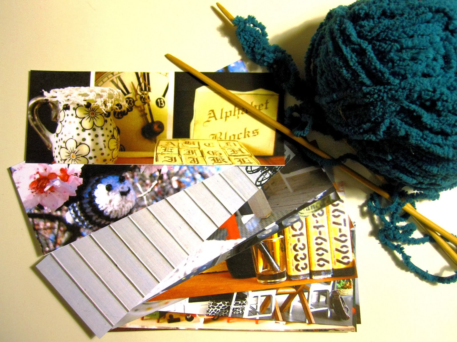 Bookmarks printed from photos of my miniatures and the first row of a teal miniature flokati rug in progress