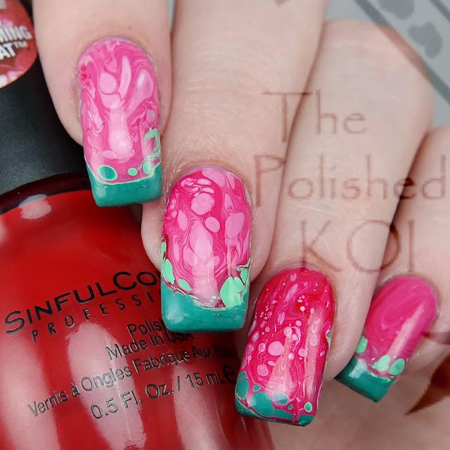 Watermelon fluid nail art