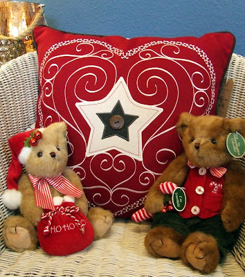 Christmas teddy bears and cushion