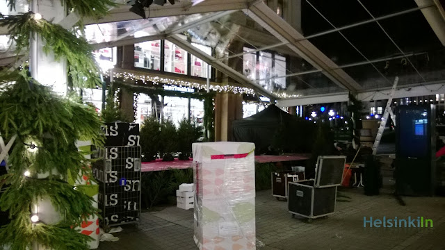 marrimekko Christmas stage being built