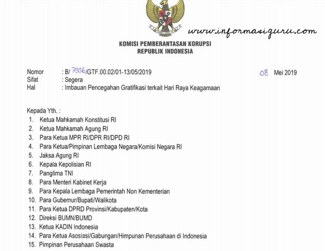 Download SE KPK No. B/3956/GTF.00.02/01-13/05/2019 tentang Imbauan Pencegahan Gratifikasi Terkait Hari Raya Keagamaan
