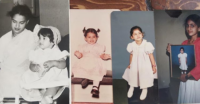 Kubra Sait Childhood pic with mother
