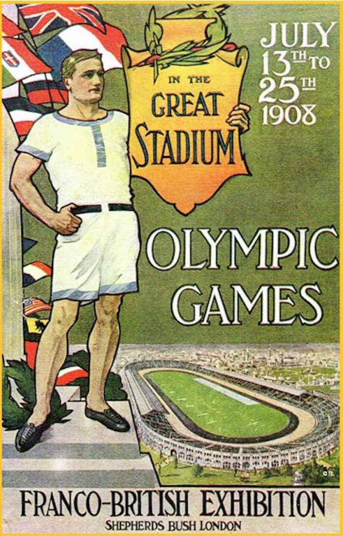 Poster for London Olympics 1908, In the Great Stadium, Shepherds Bush London. Your Russians are missing and other stories about past Olympics. marchmatron.com