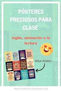 decoración para tu clase de inglés ideas para animar a la lectura Risa Rodil ilustradora Educación bilingüe. Bilingual kids. #teacher #bilingualkids #profedeele #educaciónbilingüe
