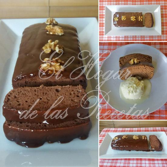 Bizcocho de claras con chocolate, con cobertura de chocolate