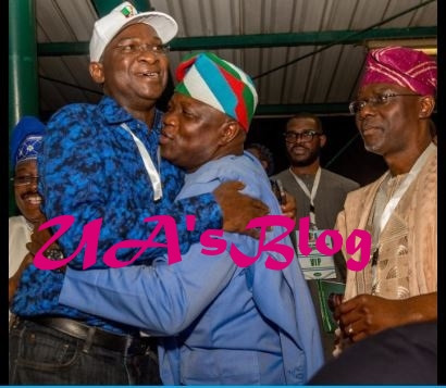 Hugs And Smiles As Ambode, Tinubu, Sanwo-Olu And Fashola Meet At APC Convention (Photos)