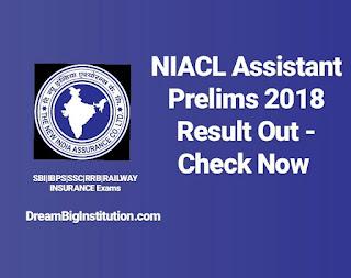 NIACL Assistant 2018 Prelims Result Out - Check Now - Dream Big Institution