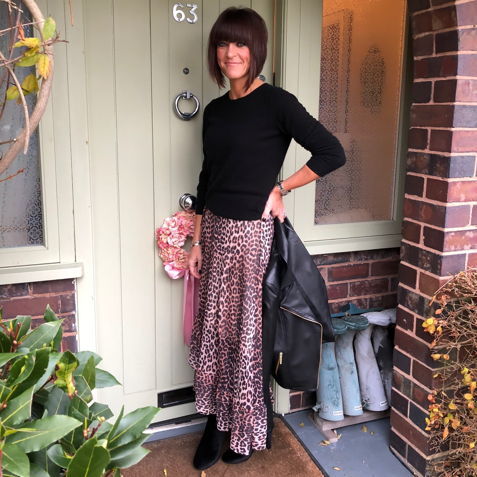 my midlife fashion, pavers shoes, bellissimo velvet ankle boot, ganni leopard print ruffle maxi wrap skirt, boden cashmere round neck jumper, baukjen everyday leather biker jacket