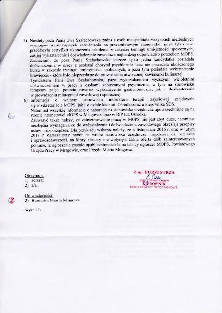 Decyzja o wyborze i zatrudnieniu należała wyłącznie do Miejskiego Ośrodka Pomocy Społecznej, jako pracodawcy