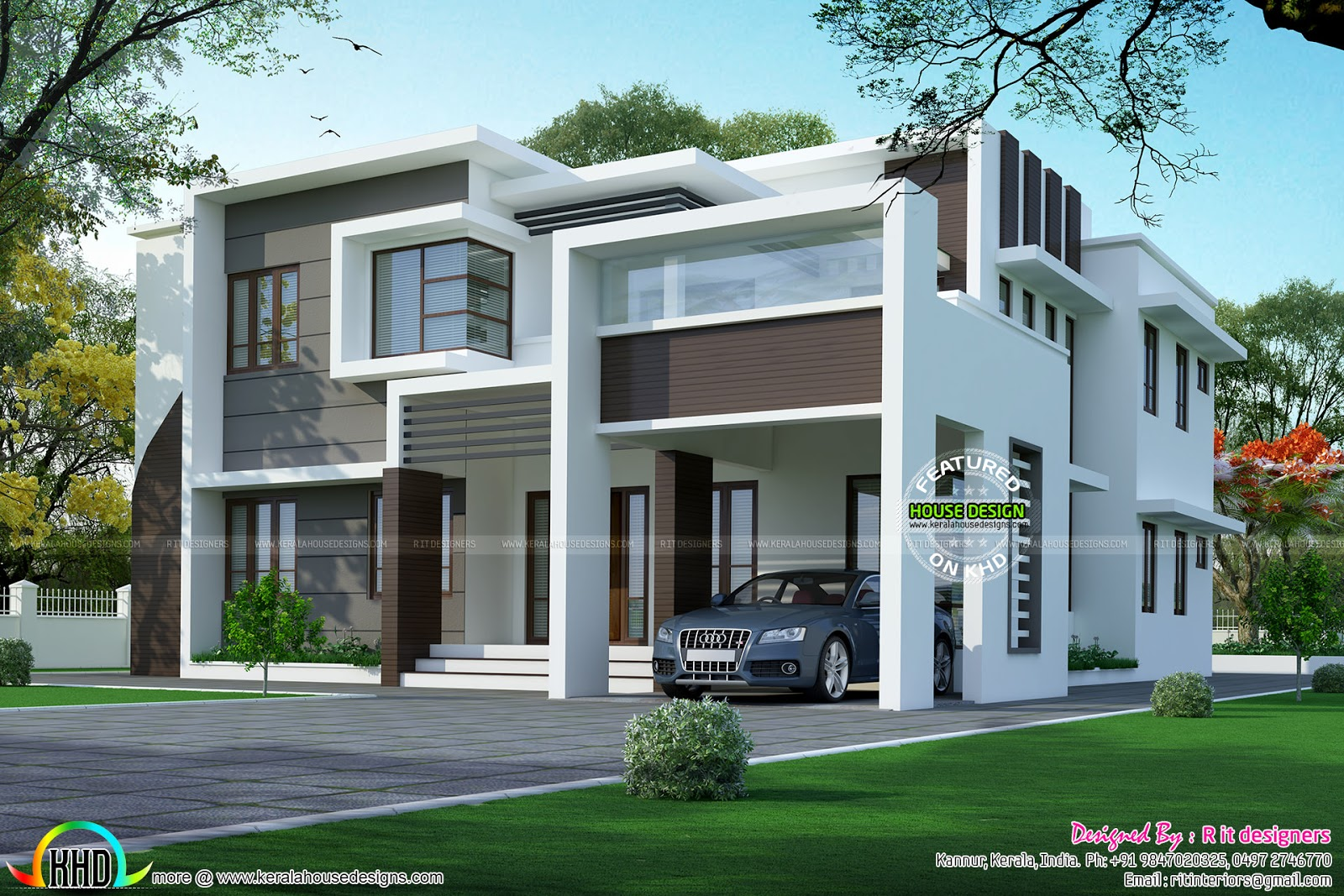 2925 Square Feet Flat Roof Home Kerala Home Design And