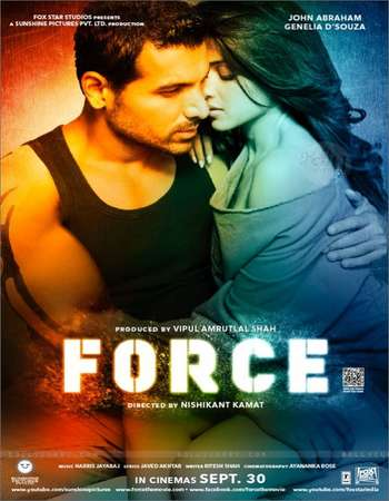 Poster Of Force 2011 Hindi 400MB HDRip 480p Watch Online Free Download Worldfree4u