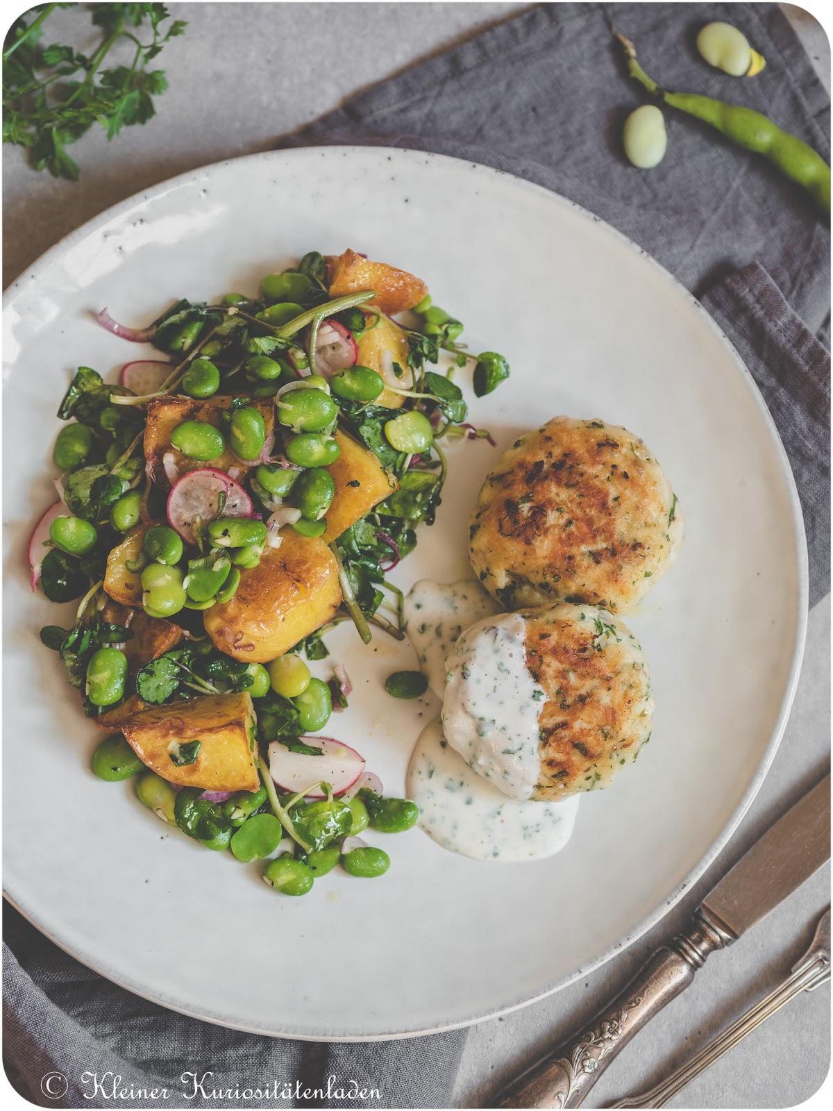 Hechtfrikadellen | Kartoffelsalat mit dicken Bohnen und Brunnenkresse
