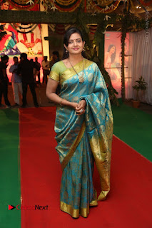 Actress Indraja Stills in Blue Silk Saree at Shatamanam Bhavathi Audio Launch  0036.JPG