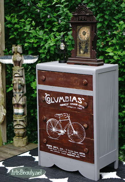 free roadside rescue dresser turned vintage columbias bicycle dresser upcycled recycled pope mfg. co. BOSTON