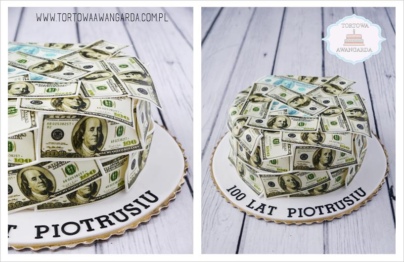 tort urodzinowy dla mężczyzny z pieniędzmi dolarami Warszawa 50tkę