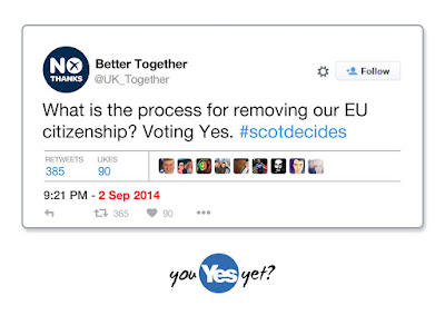 Better Together lies. What is the process for removing our EU citizenship? Voting Yes. #ScotRef #BetterTogether #YouYesYe