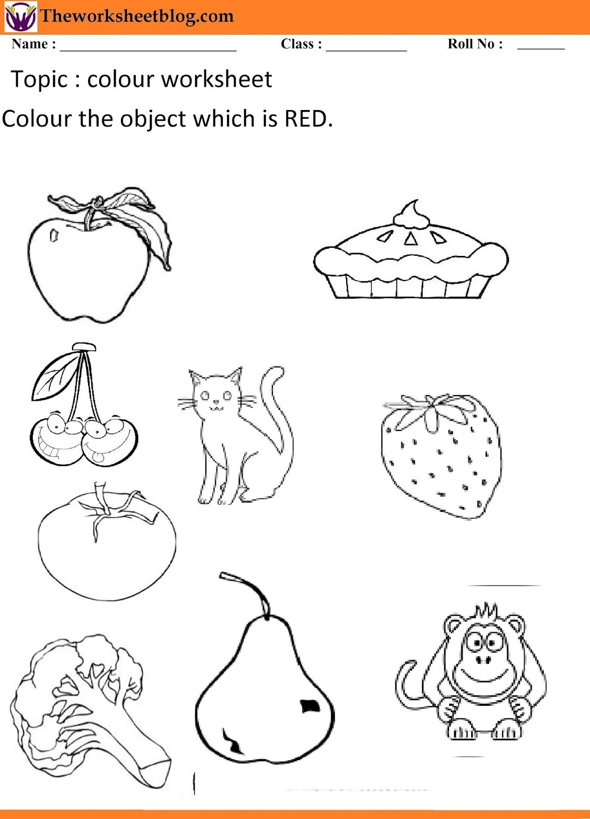 Colours Recognition Worksheet For Kindergarten