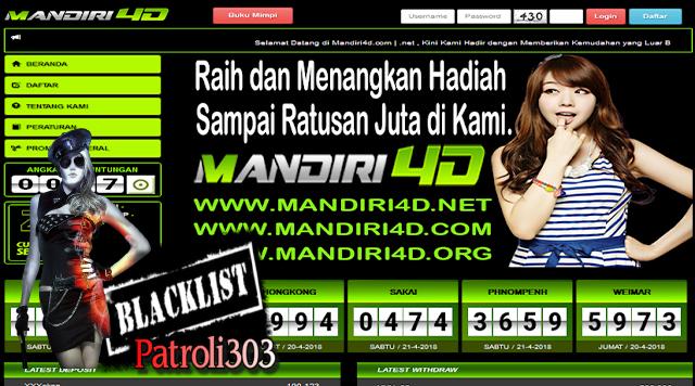 PATROLI303 : MANDIRI4D TOGEL ONLINE PENIPU