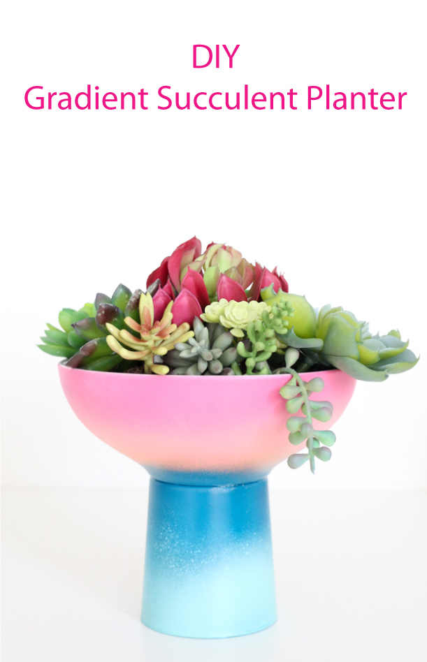 DIY Gradient Planter - ombre planter - ombre succulent planter - cacti - cactus - diy craft idea - cup and bowl - target style - modern planter diy