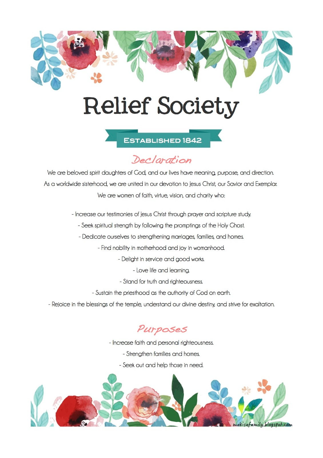 Ambitious image with regard to relief society declaration printable