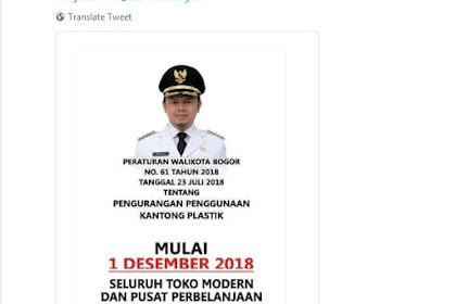 Toko Modern dan Pusat Perbelanjaan di Kota Bogor Tidak Menyediakan Kantong Plastik Mulai 1 Desember 2018