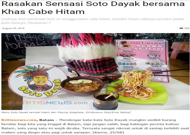 Wirausaha Kuliner Batam Soto Dayak di Media