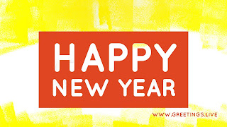 Yellow white mixed Background Red Rectangle box white fonts Happy new year
