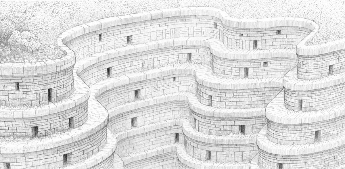 09-Ribbonland-Matt-Borrett-Hiding-in-a-Safe-Architectural-Labyrinth-Drawing-www-designstack-co