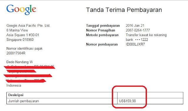 Penghasilan Adsense Bulan Desember 2015 Sudah Cair