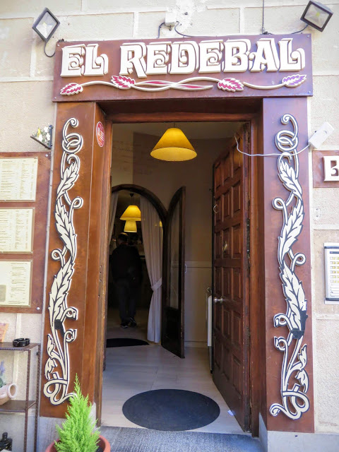 Entrance to El Redebal Restaurant in Segovia, Spain
