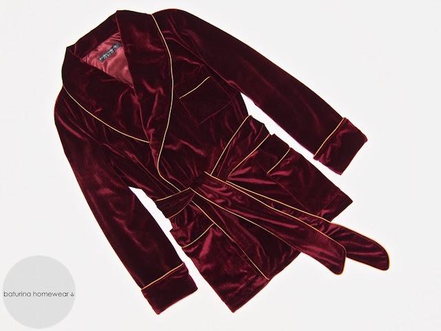 Mens red velvet smoking jacket robe dressing gown