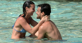 Fabio with his girlfriend Flavia at a swimming pool