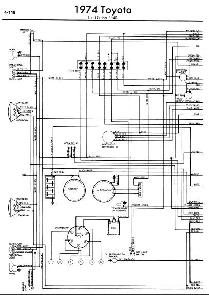 repair-manuals: Toyota Land Cruiser FJ40 1974 Wiring Diagrams