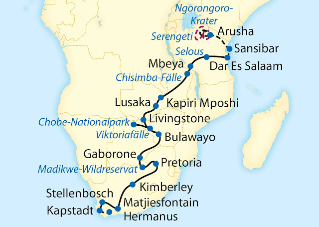 Bahnstrecke des Rovos Rail