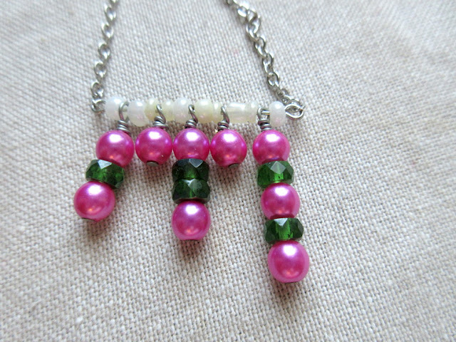 Pink green nerdy sciart mathart pi jewelry math necklace