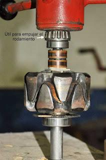 Montaje rodamiento SKF 6200-2RSH en rotor de alternador Valeo 43619