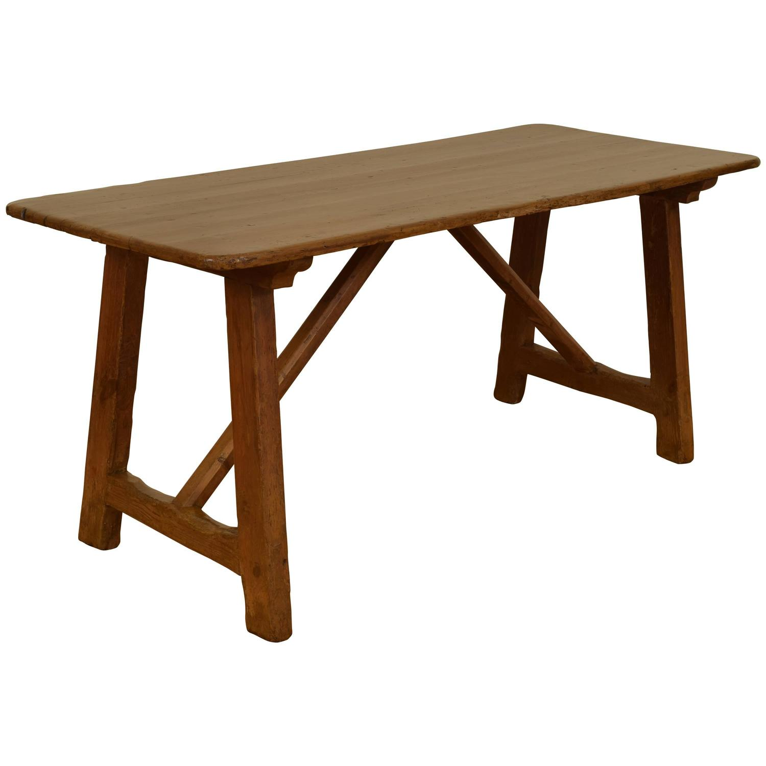 ... (the Basque Country Is A Little Slice Of Heaven)  It Is A Rare Basque,  Probably French, Perhaps Spanish, 17th C. Walnut And Forged Iron Trestle  Table ...