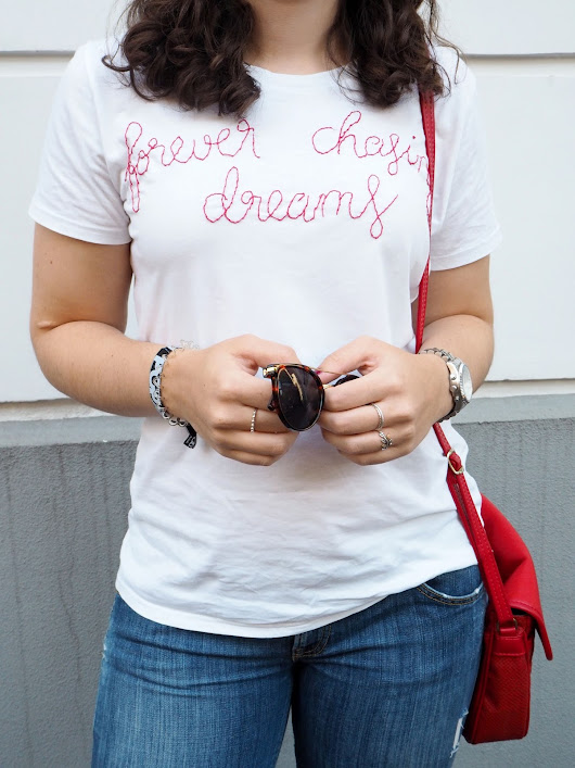 DIY: EMBROIDERED SLOGAN TEE