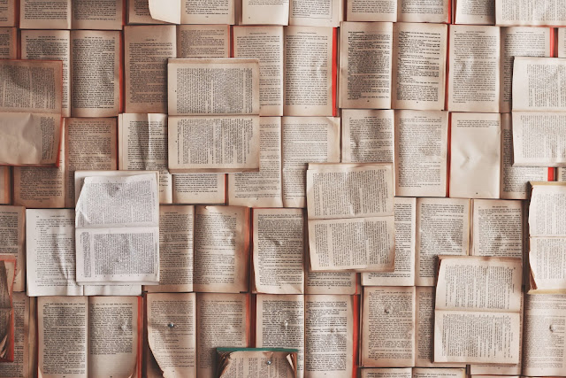 Vista zenital d'un munt de llibres oberts que ho omplen tot.