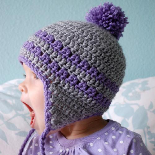 Earflap Hat - 9-12 Months - Free Pattern