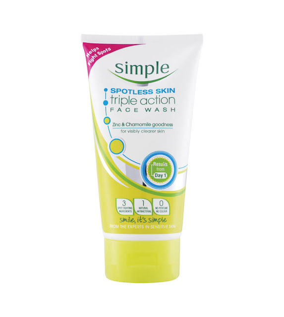 6. Sữa rửa mặt Simple Spotless Skin Triple Action Face Wash