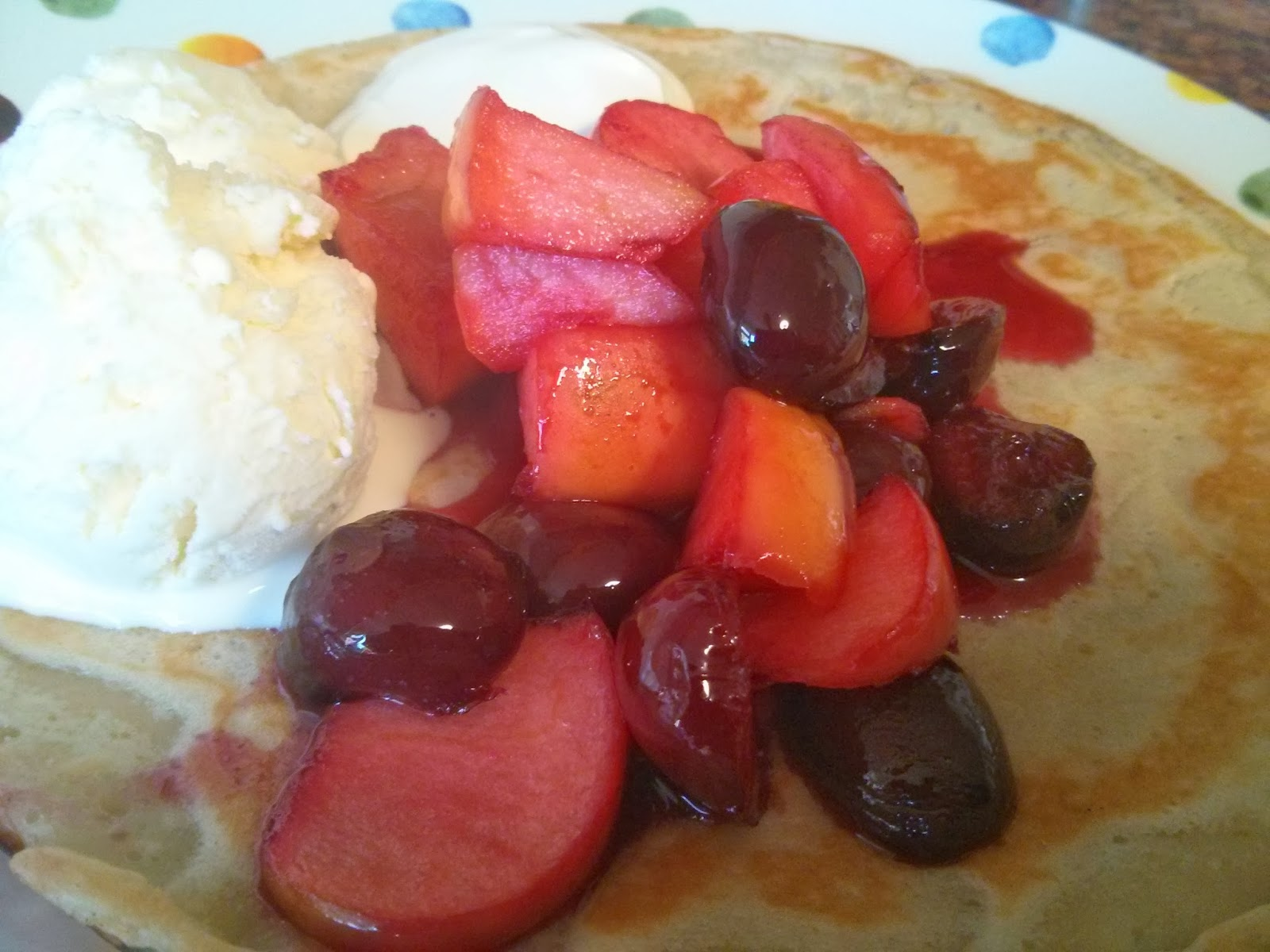 Ginger Beer Pancake with Cherries, Apples and English Ice cream