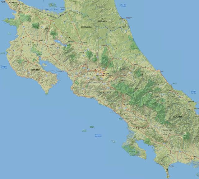 Mapa físico da Costa Rica