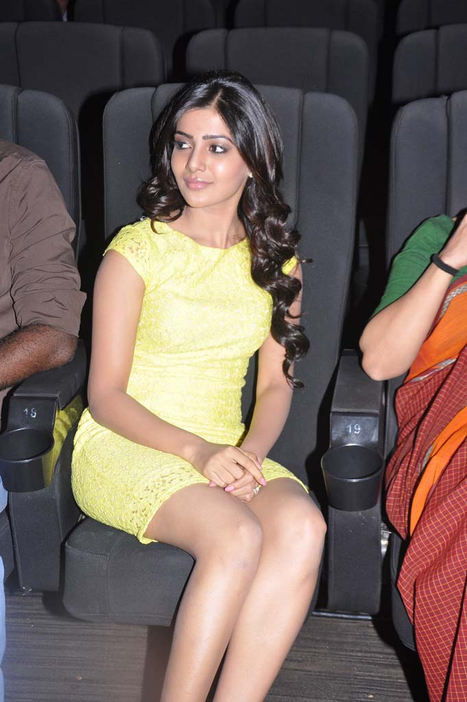 Samantha Thigh Show Stills In Yellow Dress