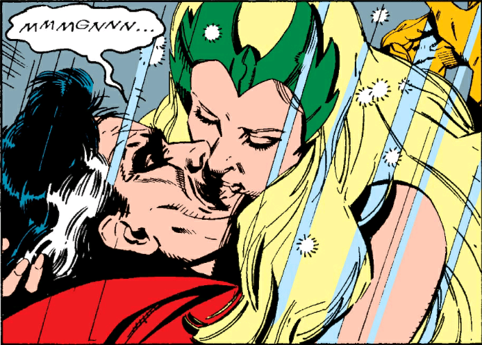 Enchantress Kisses Marvel Man