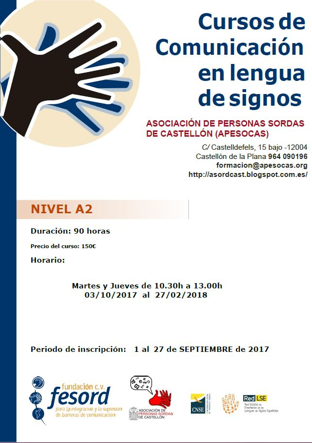 Asociacion personas sordas de castellon nuevos cursos de for Cursos de cocina en castellon