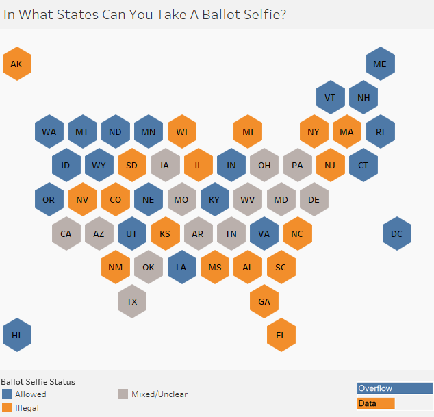 In what U.S. States can you take a ballot selfie?